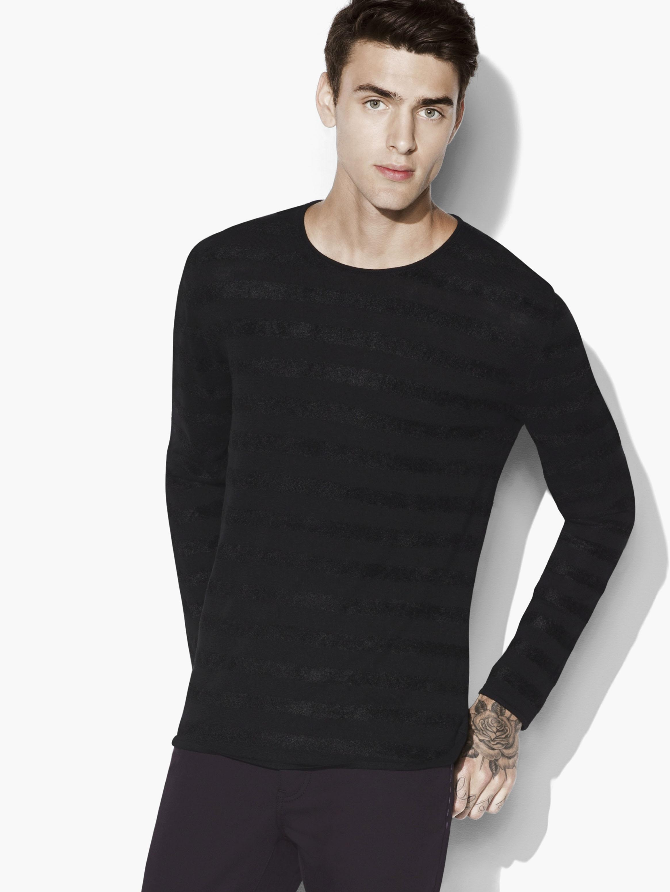 Chenille Tonal Striped Crewneck