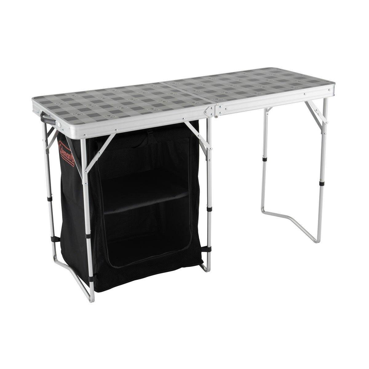 Coleman 2 in 1 Camp Table & Storage  Silver Silver