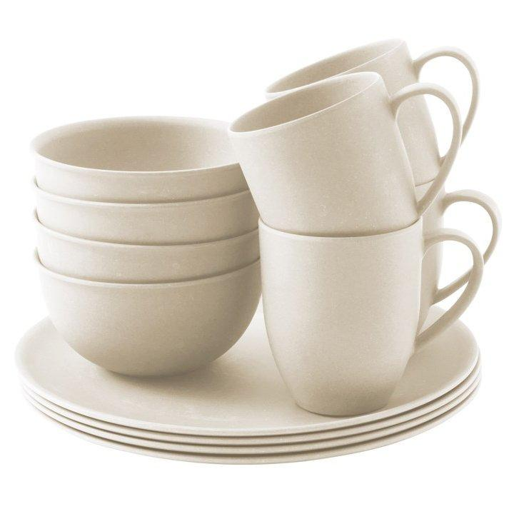 Outwell Bamboo Dinner Set  4 Person  Cream Cream