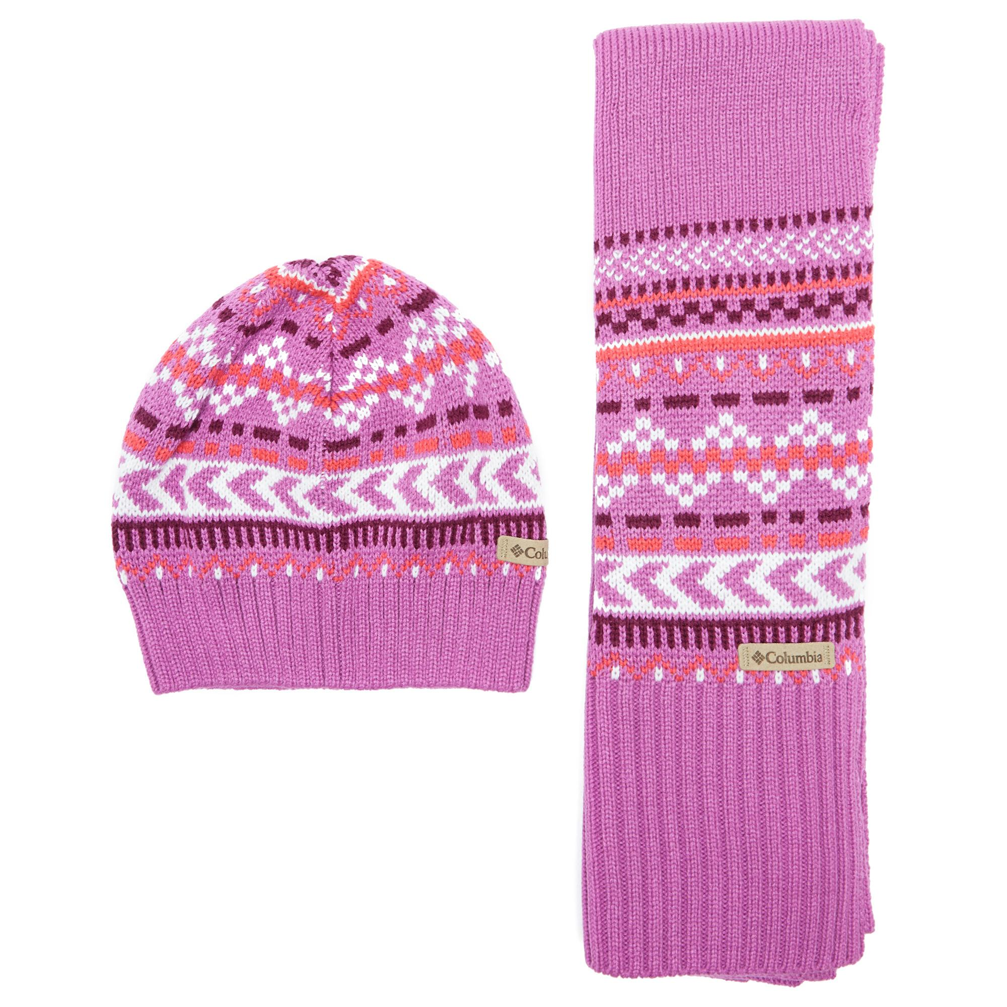 Columbia Women's Winter Worn Hat and Scarf Set, Pink
