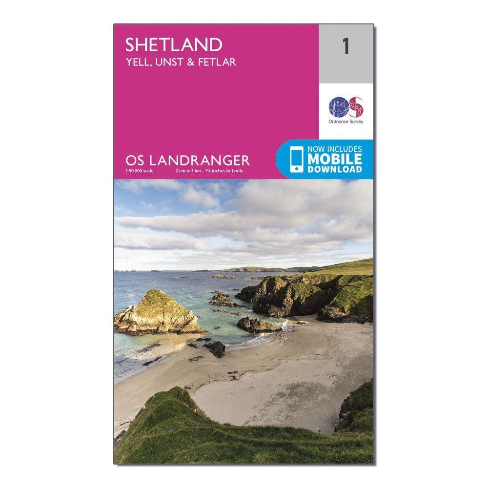 Ordnance Survey Landranger 1 Shetland  Yell  Unst And Fetlar Map With Digital Version - Pink  Pink