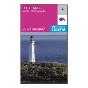 ORDNANCE SURVEY Landranger 2 Shetland  Sullom Voe & Whalsay Map With Digital Version