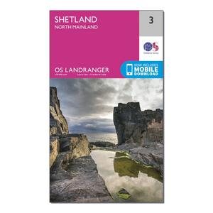 ORDNANCE SURVEY Landranger 3 Shetland  North Mainland Map With Digital Version
