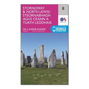ORDNANCE SURVEY Landranger 8 Stornaway & North Lewis Map With Digital Version