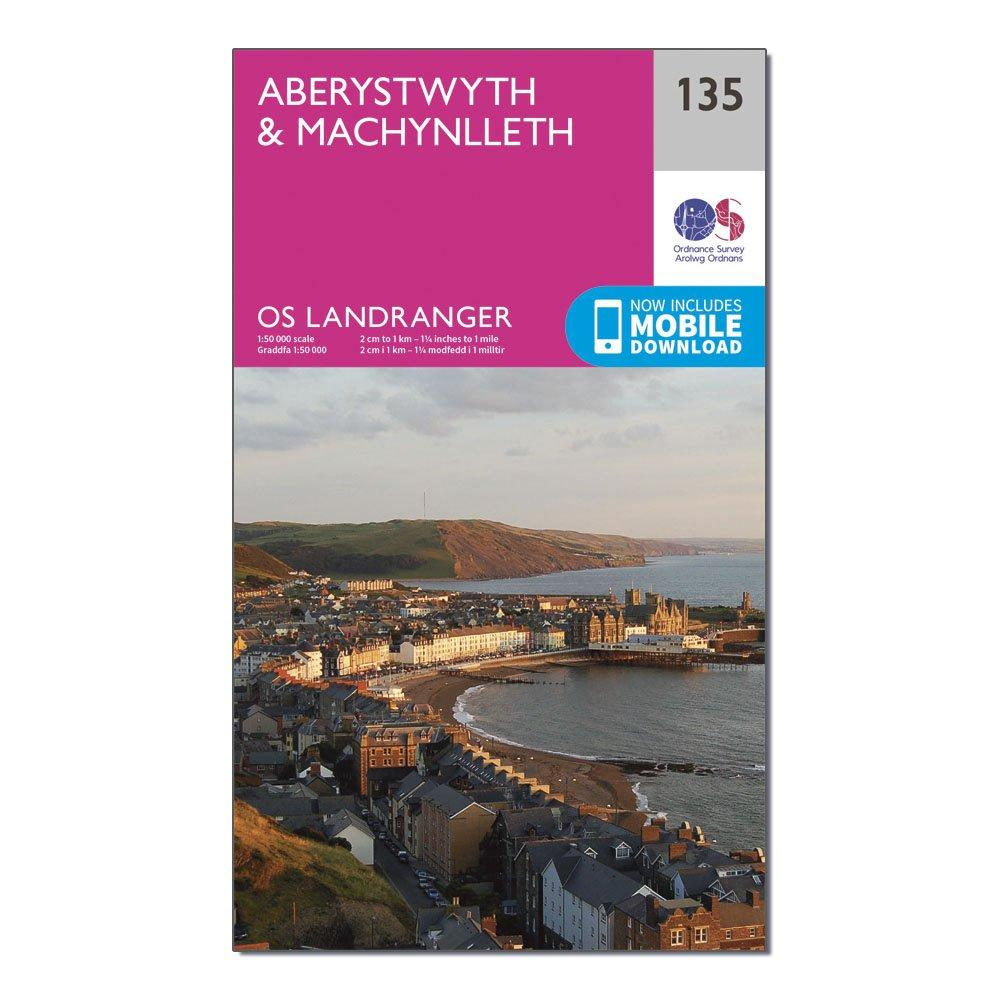 Ordnance Survey Landranger 135 AberystwythandMachynlleth Map With Digital Version - Pink/d  Pink/d