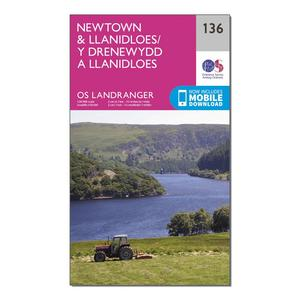 ORDNANCE SURVEY Landranger 136 Newtown & Llanidloes Map With Digital Version