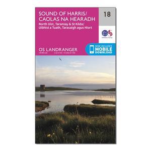 ORDNANCE SURVEY Landranger 18 Sound of Harris, North Uist, Taransay & St Kilda Map With Digital Version