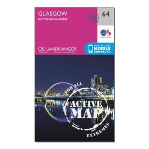ORDNANCE SURVEY Landranger Active 64 Glasgow, Motherwell & Airdrie Map With Digital Version