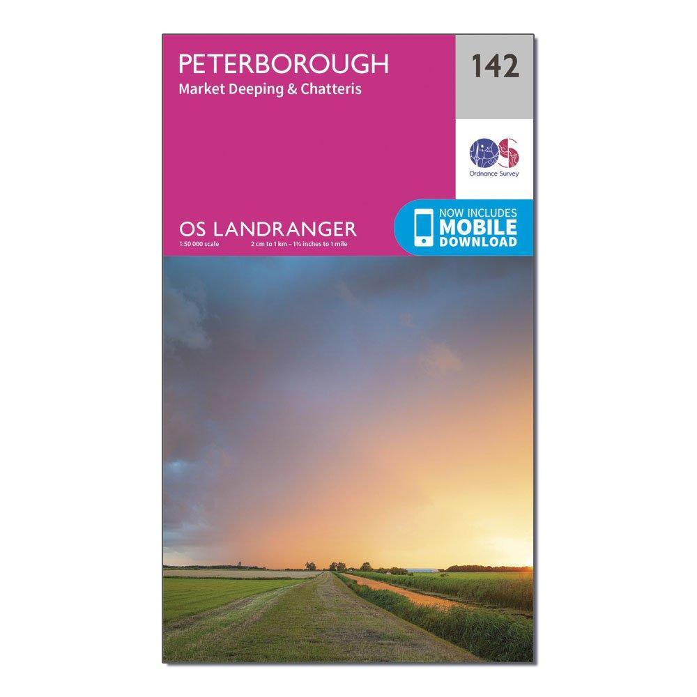 Ordnance Survey Landranger 142 Peterborough  Market DeepingandChatteris Map With Digital Version - Pink/d  Pink/d