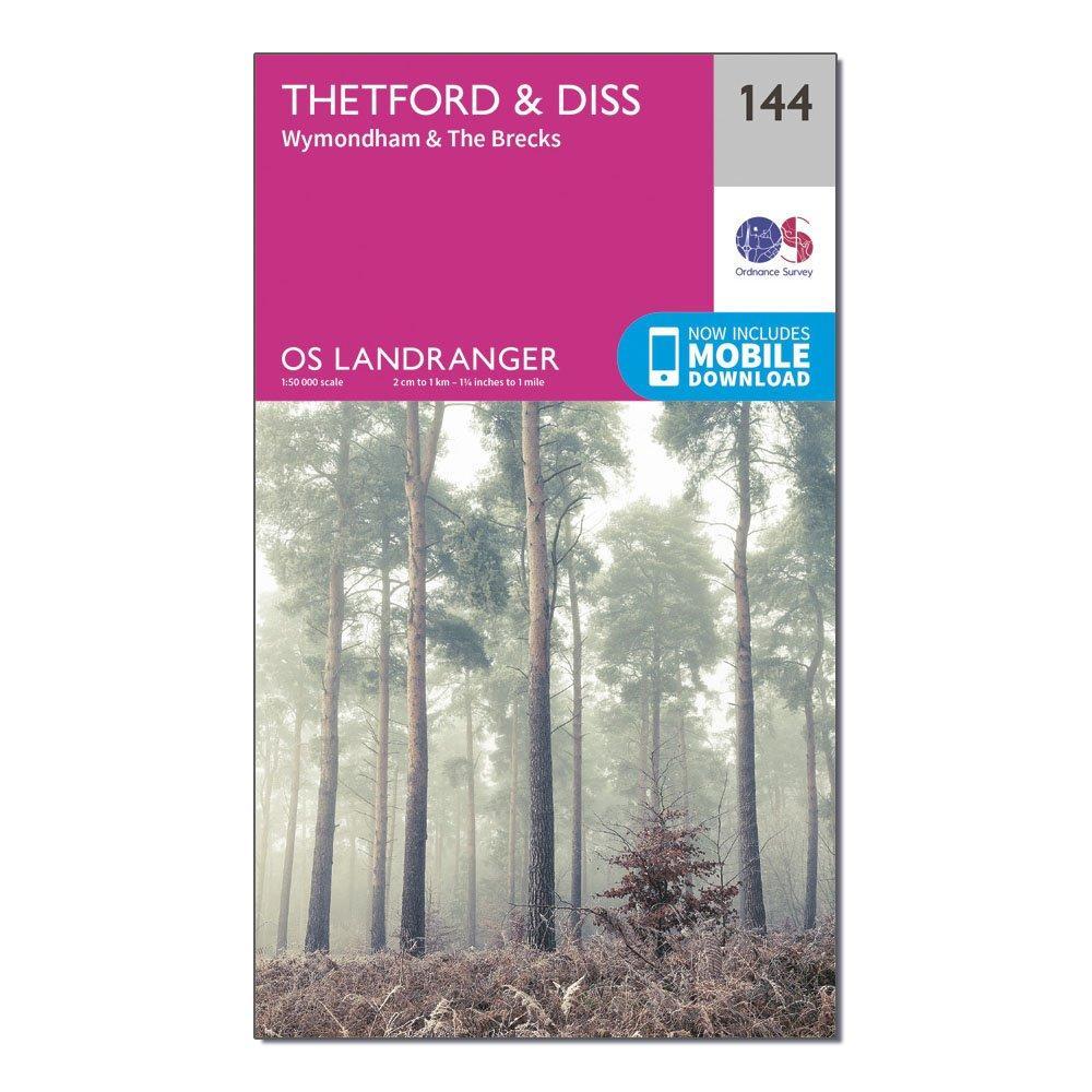 Ordnance Survey Landranger 144 ThetfordandDiss  BrecklandandWymondham Map With Digital Version - Pink/d  Pink/d