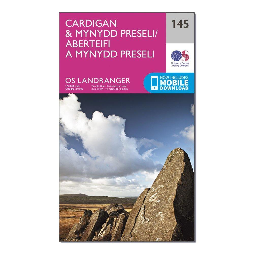 Ordnance Survey Landranger 145 CardiganandMynydd Preseli Map With Digital Version - Pink/d  Pink/d