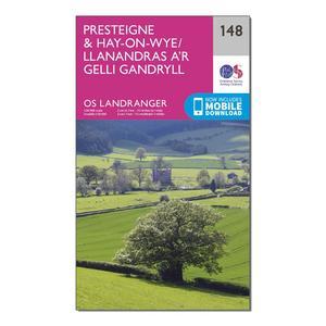 ORDNANCE SURVEY Landranger 148 Presteigne & Hay-on-Wye / Llanandras a'r Gelli Gandryll Map With Digital Version