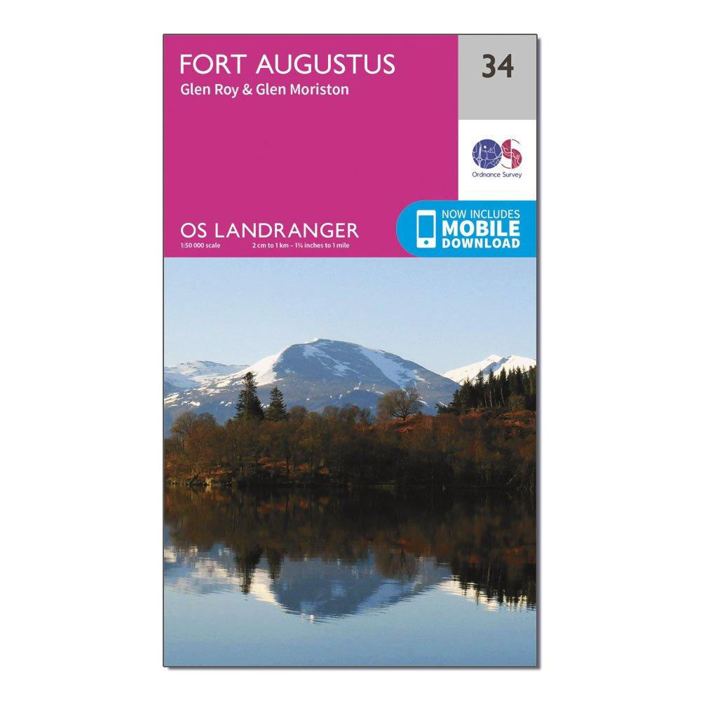 Ordnance Survey Landranger 34 Fort Augustus  Glen RoyandGlen Moriston Map With Digital Version - Pink/d  Pink/d