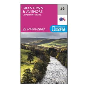 ORDNANCE SURVEY Landranger 36 Grantown, Aviemore & Cairngorm Mountains Map With Digital Version