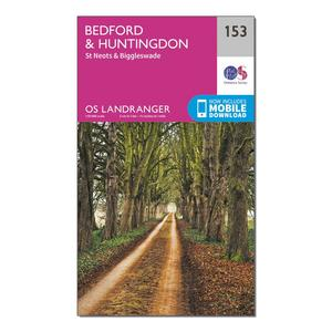 ORDNANCE SURVEY Landranger 153 Bedford, Huntingdon, St Neots & Biggleswade Map With Digital Version
