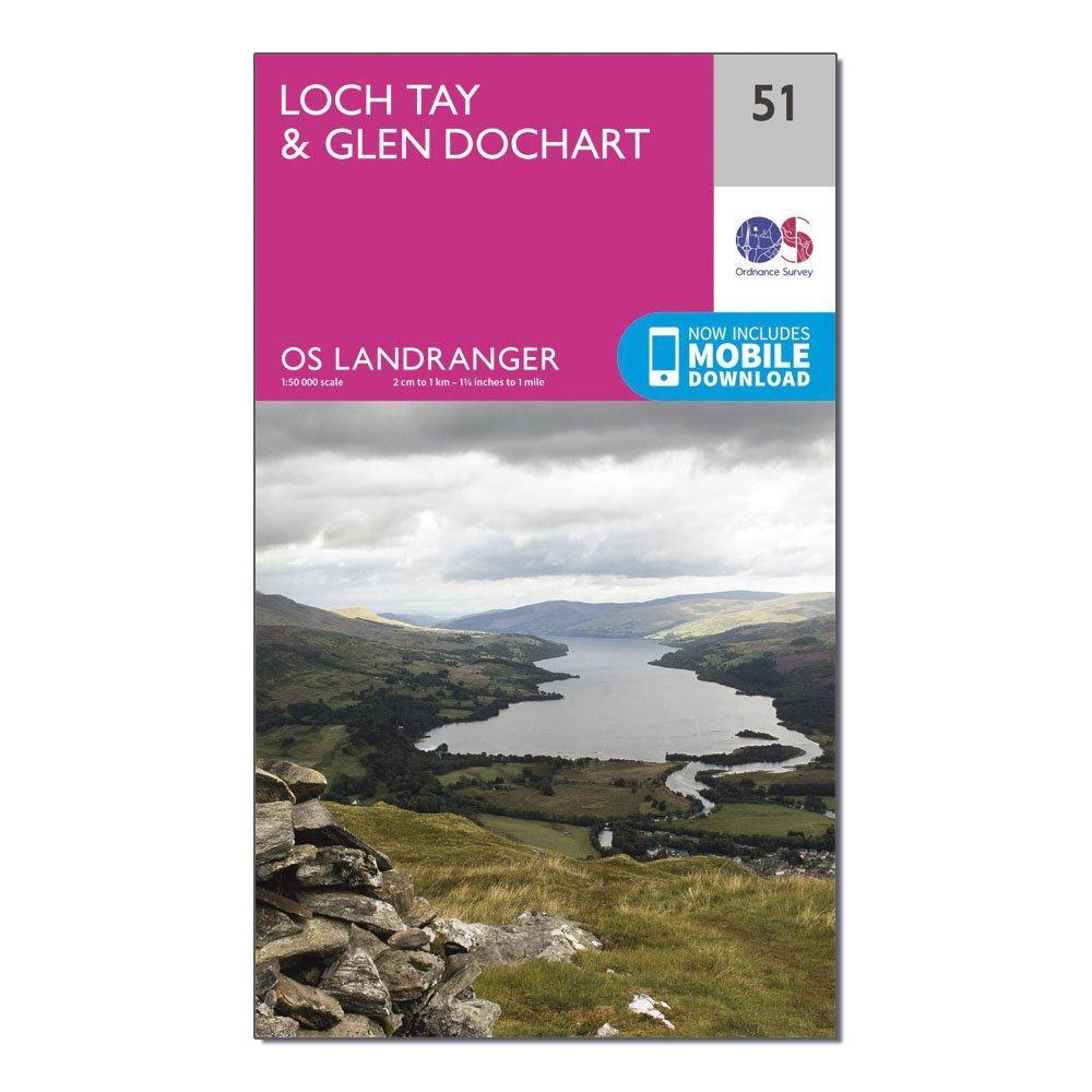 Ordnance Survey Landranger 51 Loch TayandGlen Dochart Map With Digital Version - Pink/d  Pink/d
