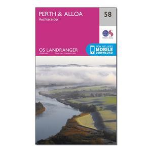 ORDNANCE SURVEY Landranger 58 Perth & Alloa, Auchterarder Map With Digital Version