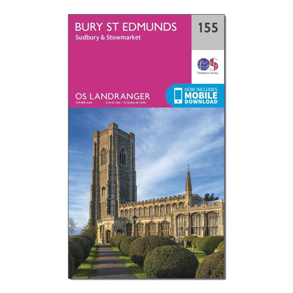 Ordnance Survey Landranger 155 Bury St Edmunds  SudburyandStowmarket Map With Digital Version - Pink/d  Pink/d