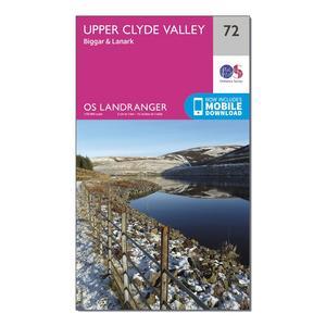 ORDNANCE SURVEY Landranger 72 Upper Clyde Valley, Biggar & Lanark Map With Digital Version