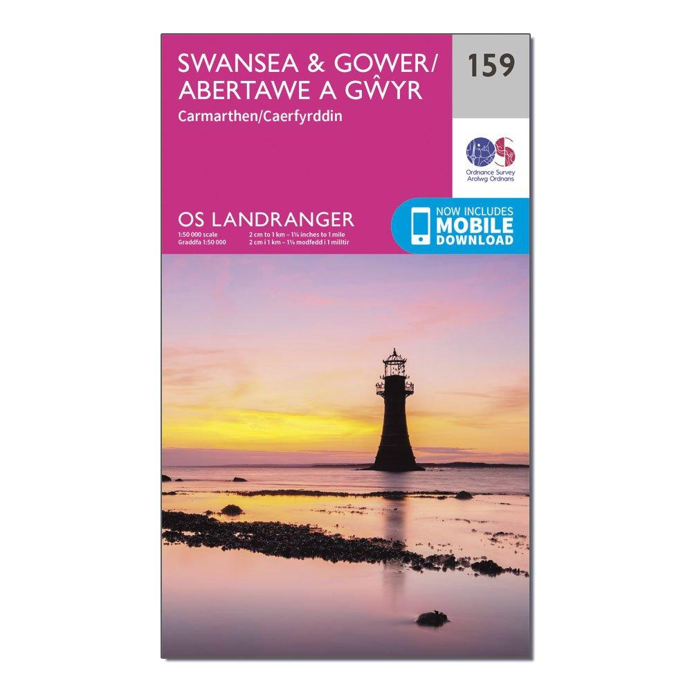 Ordnance Survey Landranger 159 SwanseaandGower  Carmarthen Map With Digital Version - Pink/d  Pink/d