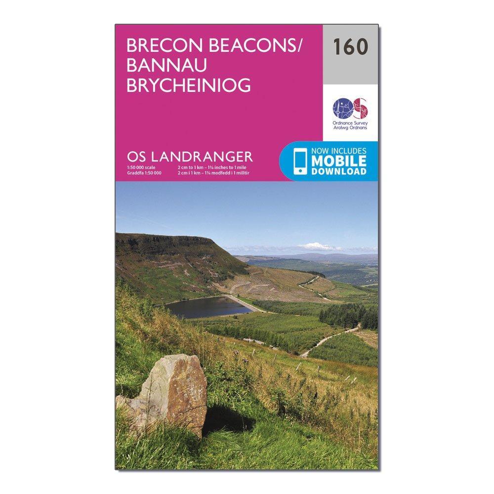 Ordnance Survey Landranger 160 Brecon Beacons Map With Digital Version - Pink/d  Pink/d