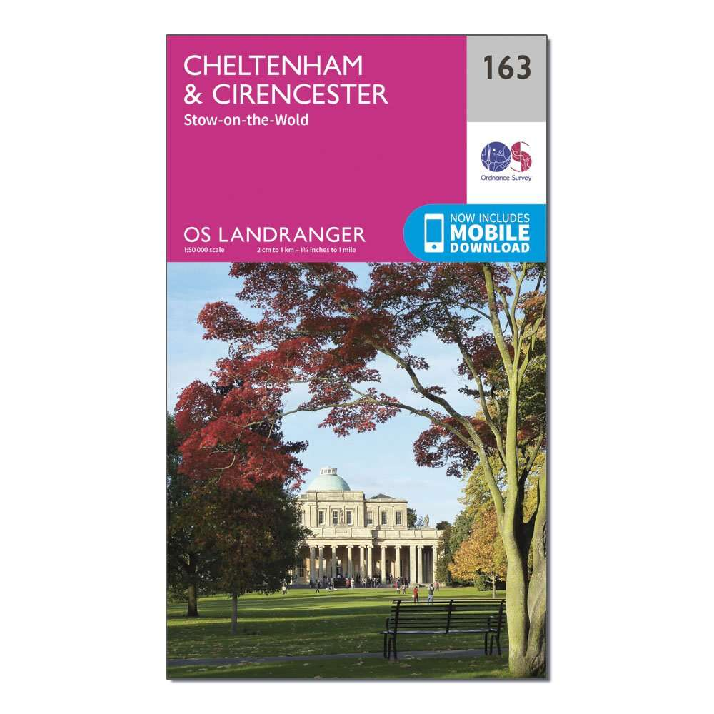 ORDNANCE SURVEY Landranger 163 Cheltenham & Cirencester, Stow-on-the-Wold Map With Digital Version