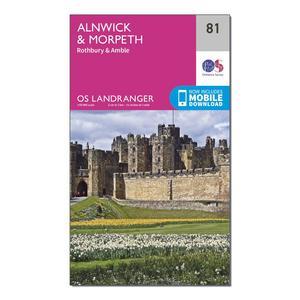 ORDNANCE SURVEY Landranger 81 Alnwick & Morpeth, Rothbury & Amble Map With Digital Version