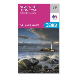 ORDNANCE SURVEY Landranger 88 Newcastle upon Tyne, Durham & Sunderland Map With Digital Version