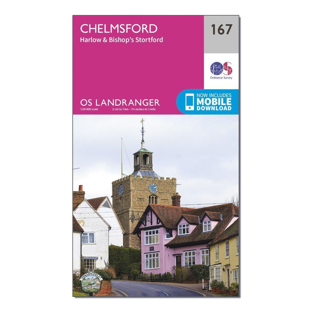 Ordnance Survey Landranger 167 Chelmsford  HarlowandBishops Stortford Map With Digital Version - Pink/d  Pink/d