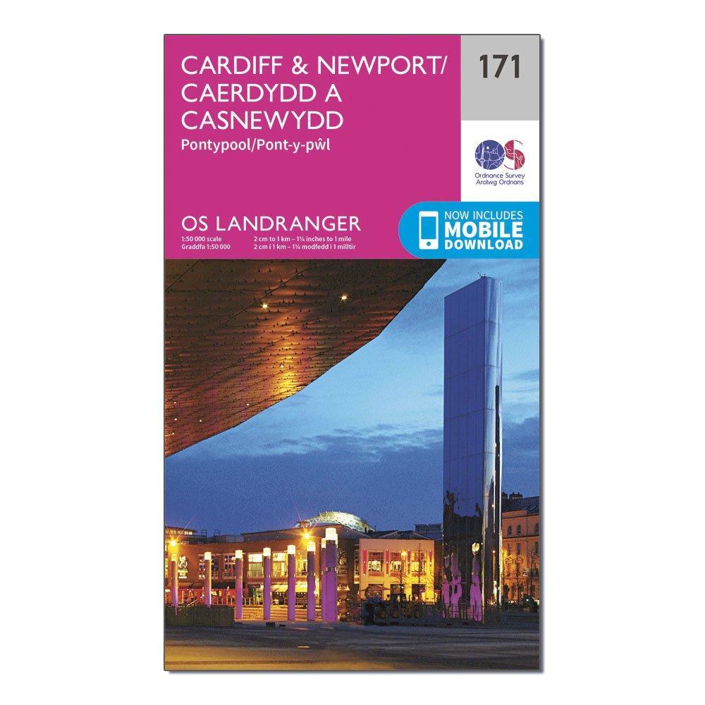 Ordnance Survey Landranger 171 CardiffandNewport  Pontypool Map With Digital Version - Pink/d  Pink/d