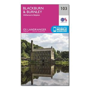 ORDNANCE SURVEY Landranger 103 Blackburn & Burnley, Clitheroe & Skipton Map With Digital Version