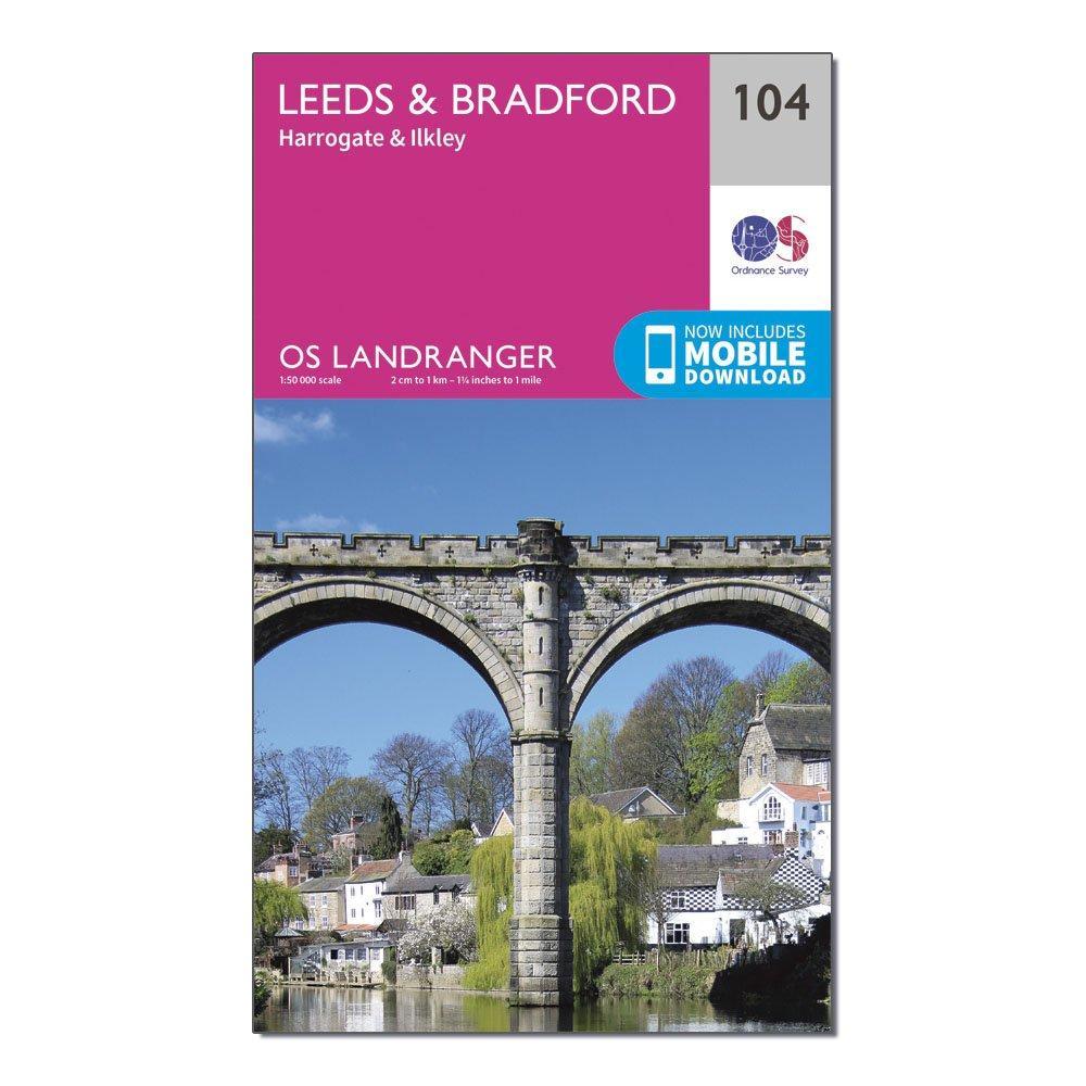 Ordnance Survey Landranger 104 LeedsandBradford  HarrogateandIlkley Map With Digital Version - Pink/d  Pink/d