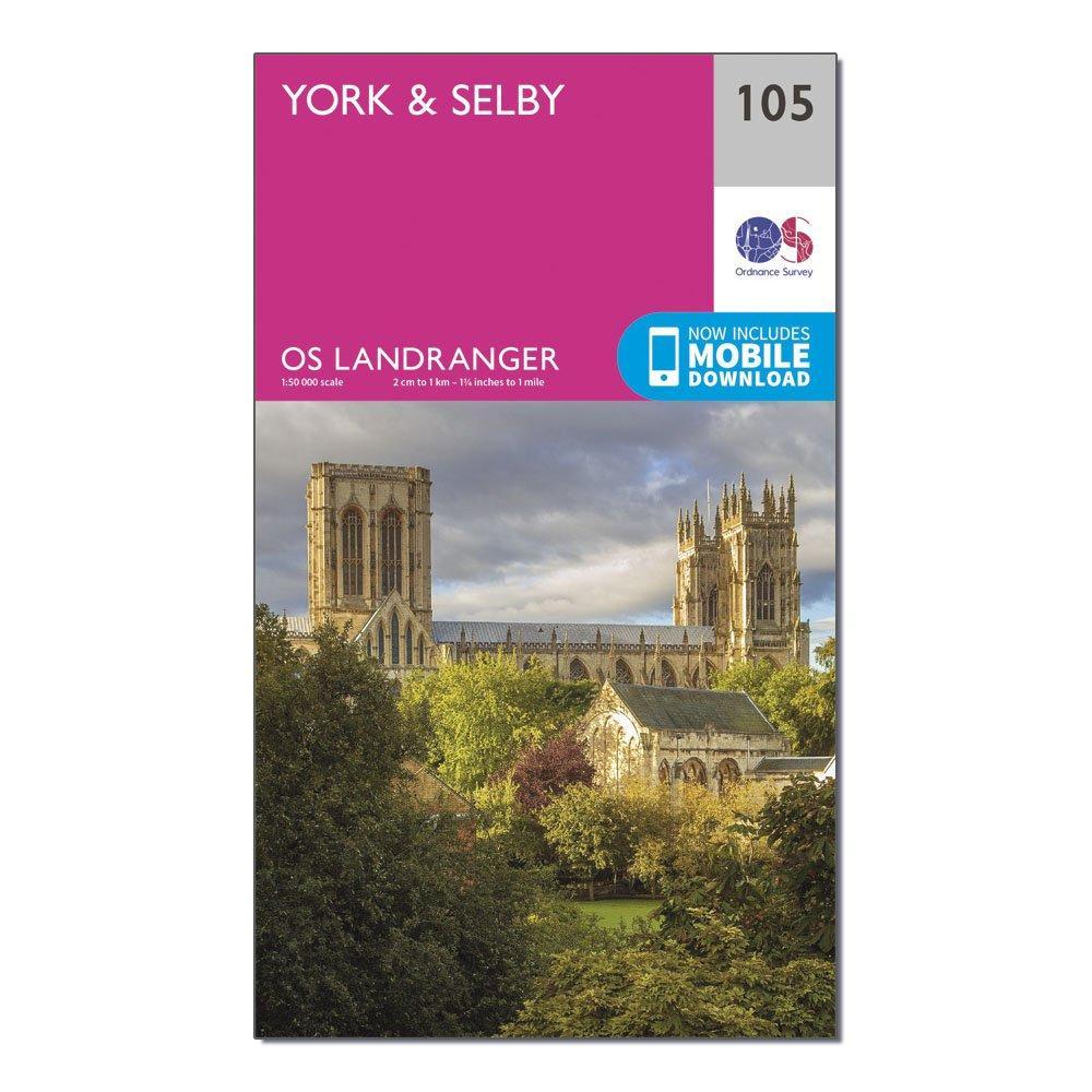 Ordnance Survey Landranger 105 YorkandSelby Map With Digital Version - Pink/d  Pink/d