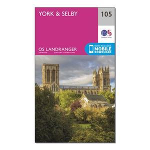 ORDNANCE SURVEY Landranger 105 York & Selby Map With Digital Version