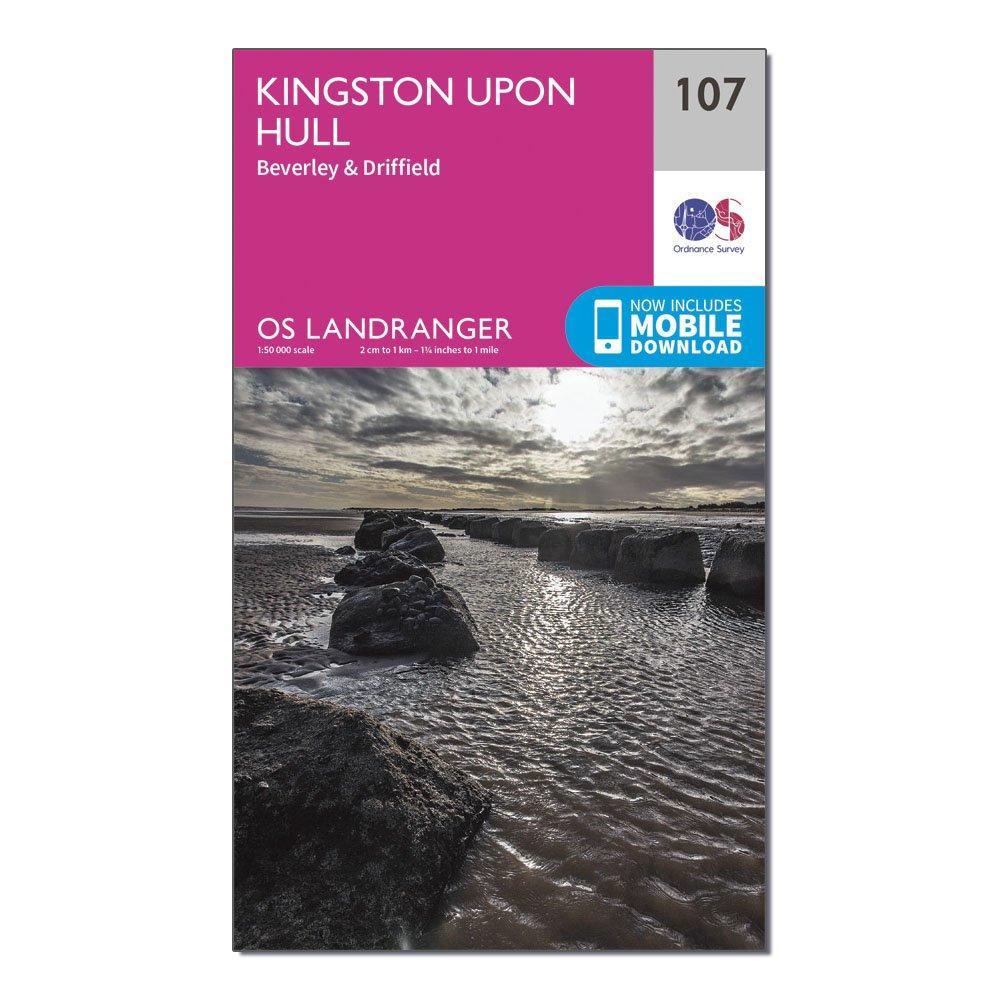 Ordnance Survey Landranger 107 Kingston Upon Hull  BeverleyandDriffield Map With Digital Version - Pink/d  Pink/d