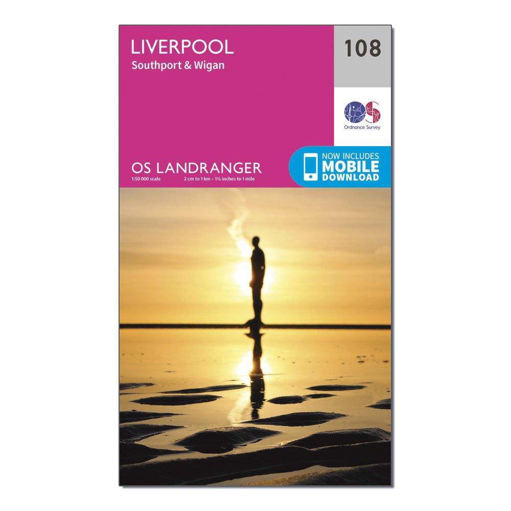 Ordnance Survey Landranger 108 Liverpool  SouthportandWigan Map With Digital Version - Pink/d  Pink/d