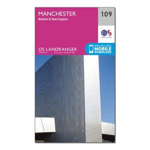 ORDNANCE SURVEY Landranger 109 Manchester, Bolton & Warrington Map With Digital Version