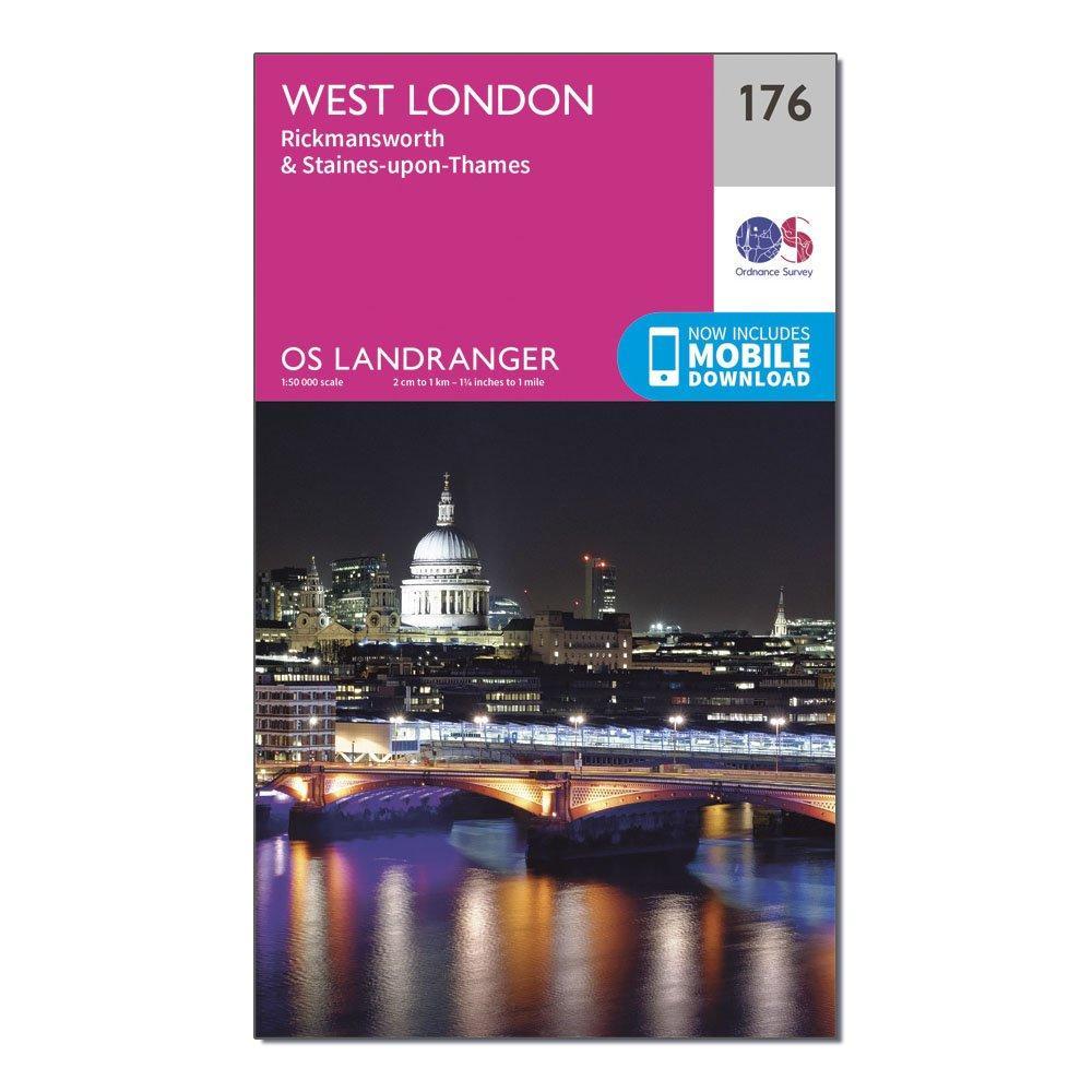 Ordnance Survey Landranger 176 West London  RickmansworthandStaines Map With Digital Version - Pink/d  Pink/d