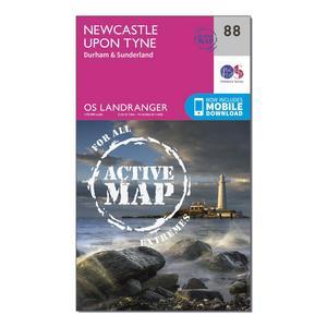 ORDNANCE SURVEY Landranger Active 88 Newcastle upon Tyne, Durham & Sunderland Map With Digital Version