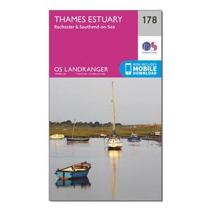 ORDNANCE SURVEY Landranger 178 Thames Estuary, Rochester & Southend-on-Sea Map With Digital Version