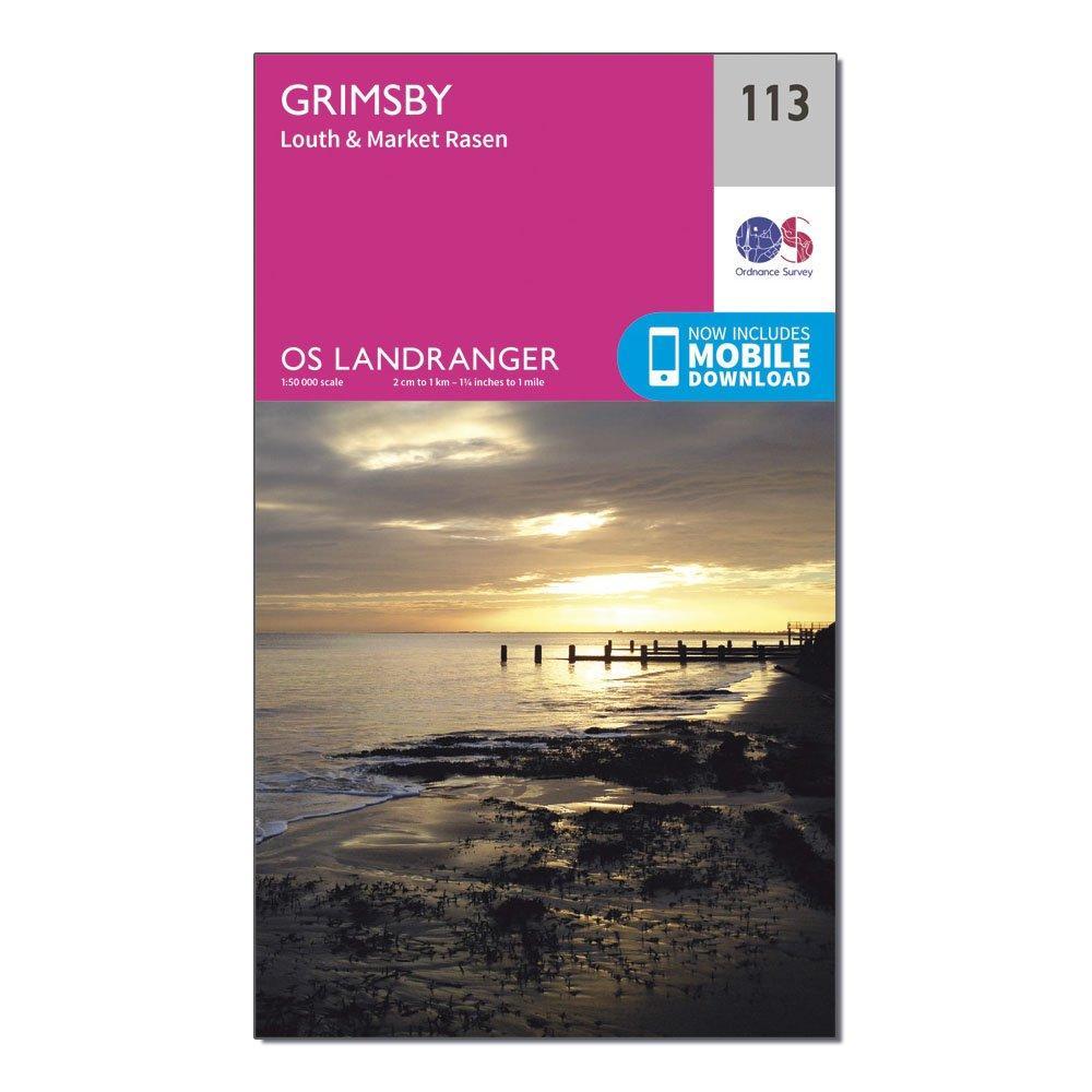 Ordnance Survey Landranger 113 Grimsby  LouthandMarket Rasen Map With Digital Version - Pink/d  Pink/d