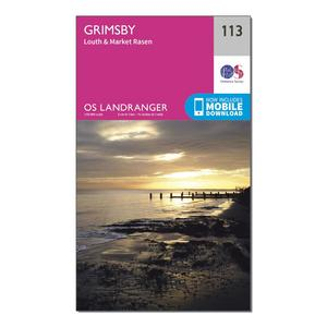 ORDNANCE SURVEY Landranger 113 Grimsby, Louth & Market Rasen Map With Digital Version