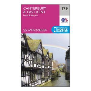 ORDNANCE SURVEY Landranger 179 Canterbury & East Kent, Dover & Margate Map With Digital Version