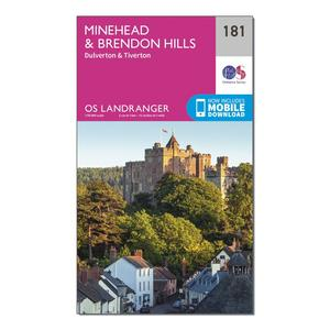 ORDNANCE SURVEY Landranger 181 Minehead & Brendon Hills, Dulverton & Tiverton Map With Digital Version