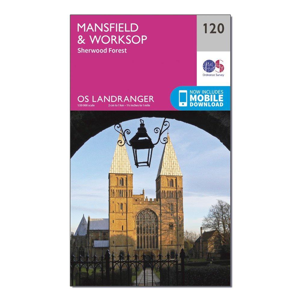 Ordnance Survey Landranger 120 MansfieldandWorksop  Sherwood Forest Map With Digital Version - Pink/d  Pink/d