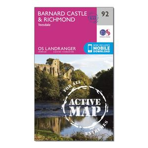 ORDNANCE SURVEY Landranger Active 92 Barnard Castle and surrounding area Map With Digital Version
