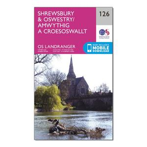 ORDNANCE SURVEY Landranger 126 Shrewsbury & Oswestry Map With Digital Version