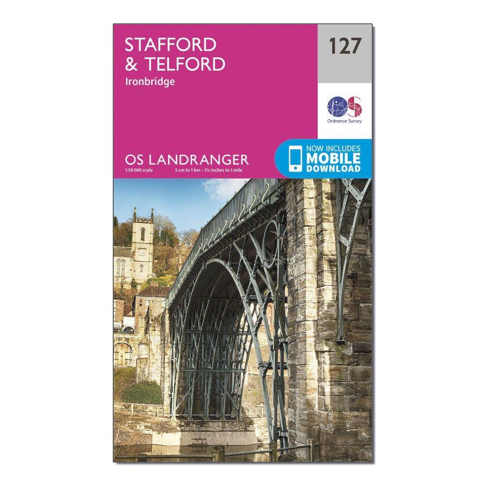 Ordnance Survey Landranger 127 StaffordandTelford  Ironbridge Map With Digital Version - Pink/d  Pink/d
