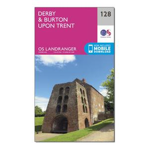 ORDNANCE SURVEY Landranger 128 Derby & Burton upon Trent Map With Digital Version