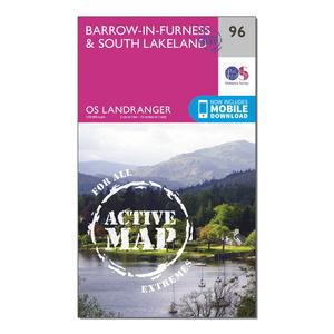 ORDNANCE SURVEY Landranger Active 96 Barrow-in-Furness & South Lakeland Map With Digital Version